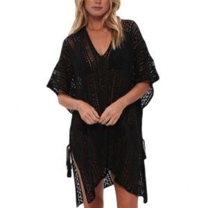 OSFM: Black Crochet Knitted Tassel Kimono/Coverup